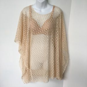 Tempo Mesh Poncho One size Beige Crochet Cover up